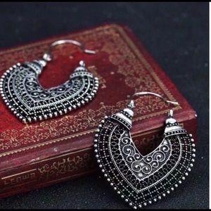 Boho Tibetan carved silver earrings NEW